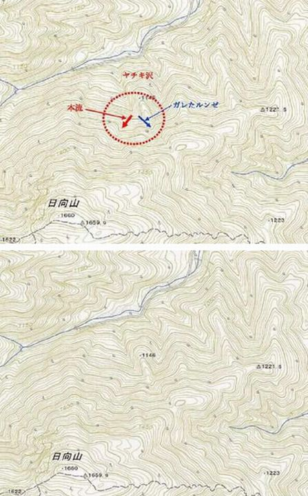 ヤチキ沢地形図(標高1140m付近に注目)