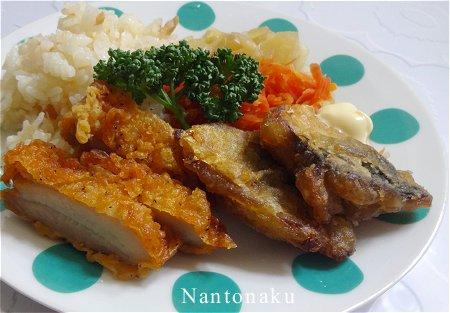 Nantonaku 4-2 昼ごはん 玉ねぎ 人参 鶏肉 さば 梅ご飯 2