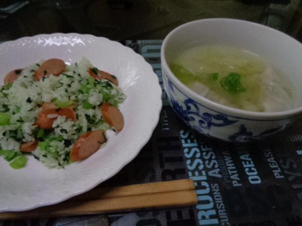 10/30 家食・青梗菜炒飯&餃子スープ