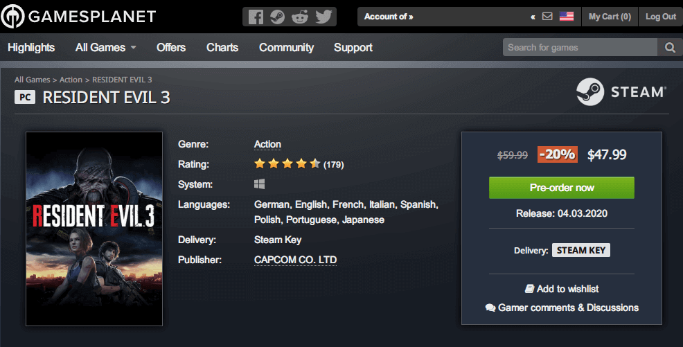 Gamesplanet の Steam 版 バイオハザード RE:3(RESIDENT EVIL 3) 発売前ストアページ、Gamesplanet Pre-order RESIDENT EVIL 3