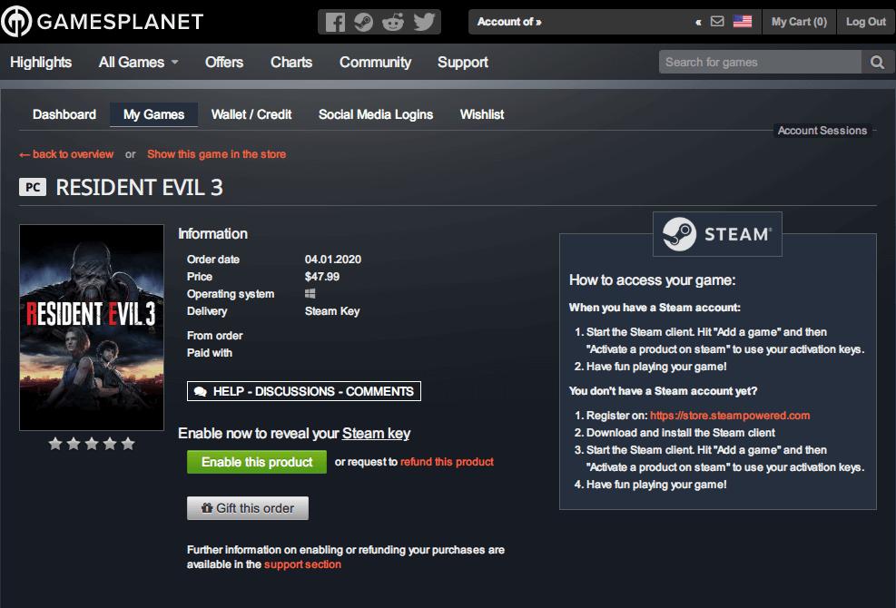 Gamesplanet で Steam 版 バイオハザード RE:3(RESIDENT EVIL 3) 予約購入後の Gamesplanet の My Games ページ
