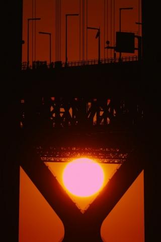 200111明石海峡大橋夕日3