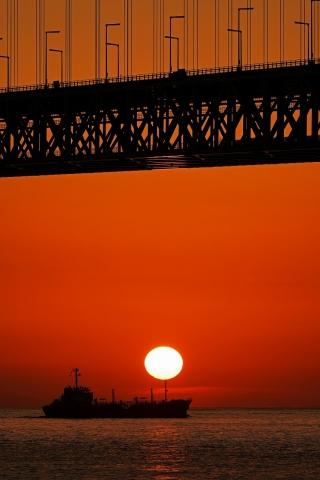200111明石海峡大橋夕日4