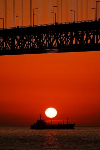 200111明石海峡大橋夕日5