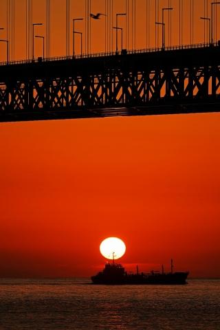 200111明石海峡大橋夕日6