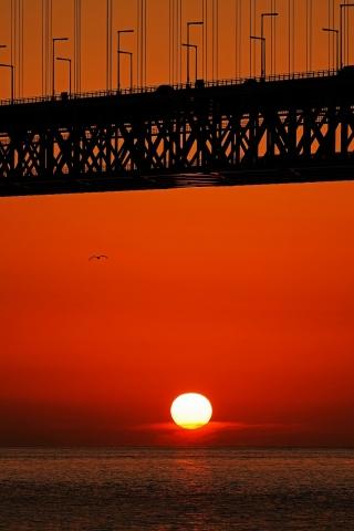 200111明石海峡大橋夕日7