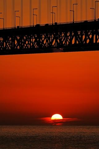 200111明石海峡大橋夕日8