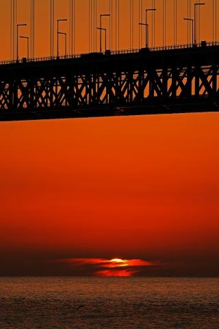 200111明石海峡大橋夕日9