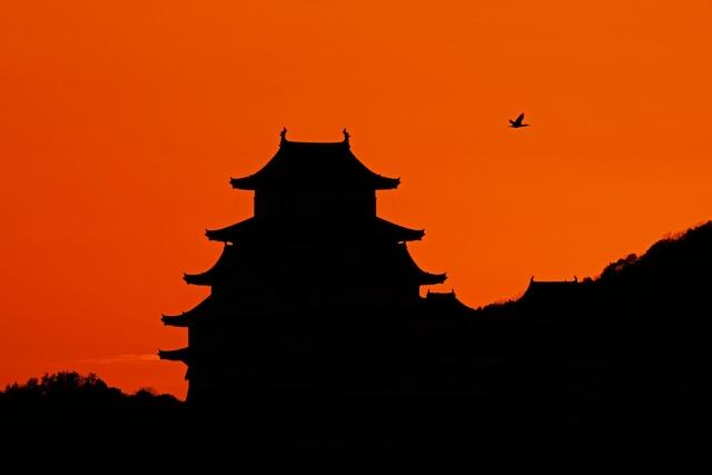 200118姫路城夕日3_1