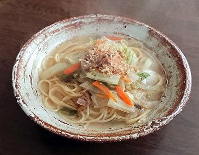たっぷり野菜の和風スープスパゲッティ