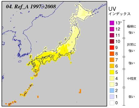 日最大UVインデックス(解析値)の月別累年平均値全国分布図
