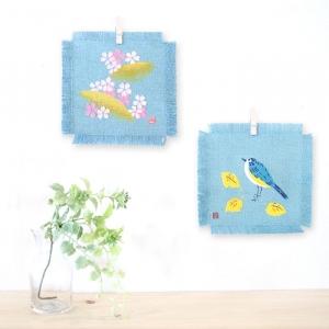 型染彩色布_染あとりえ草創_ ルリビタキ、吉野桜_幸せの青い鳥 小鳥 かわいい 千本桜