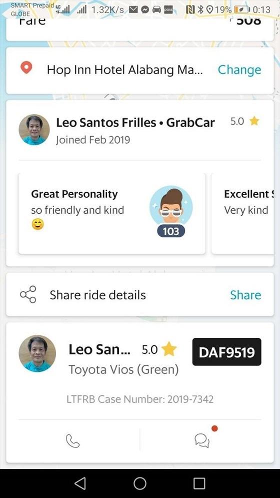 「Grabカー」ドライバーレオ・サントスさんは、運転技術も高く、愉快なおじさん