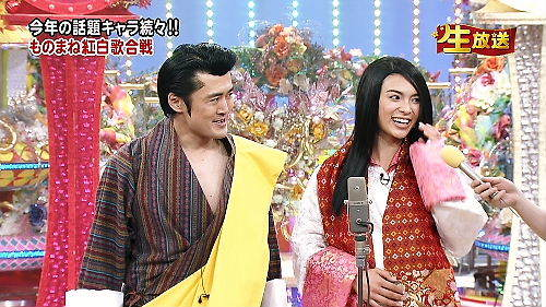 平成23年(2011年)12月28日夜にフジテレビが放送した「笑っていいとも! 年忘れ特大号2011 」で、劇団ひとりとAKB48の秋元才加がブータン国王夫妻のモノマネと称してブータン国王夫妻の格好をして登場した後、アン
