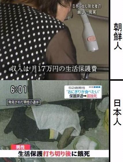 上は、脱北した一人暮らしの在日朝鮮人が月17万円も生活保護を受けて「まだ足りない」と不満を訴えている。 下は、福岡県北九州市で病気で働けない56歳の日本人男性が生活保護を打ち切られ