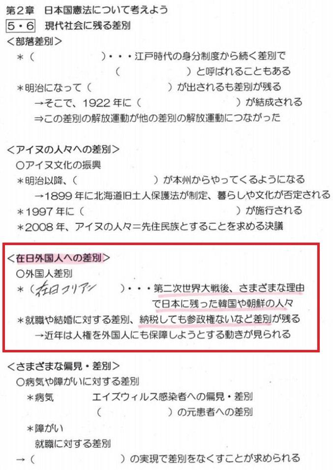 20191217公立校「在日に参政権がなく差別!韓国併合で人・土地・言葉・名前を奪う!強制連行で日本へ」神戸