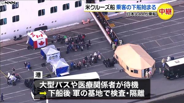 米クルーズ船、乗客の下船開始 2400人、米軍基地へ移送 新型コロナ