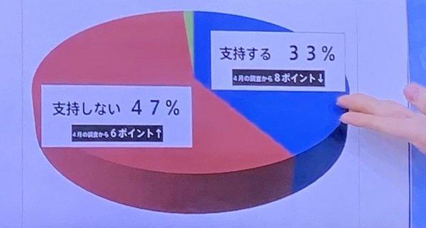 20200522TBSひるおび、円グラフを偽造!「支持しない47%」で50%超の円グラフを放送!稚拙な印象操作