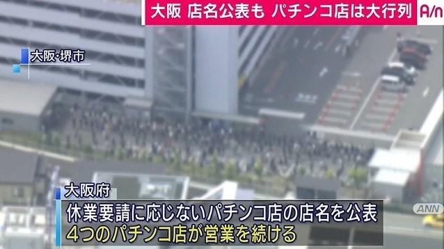 【維新】大阪の吉村知事が晒したパチンコ屋、朝から大行列 w w w 完全に逆効果