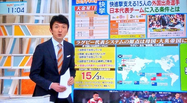 ラグビー日本代表には韓国出身選手もいると。これをネトウヨ小松靖が紹介しているのが何とも言えんな。