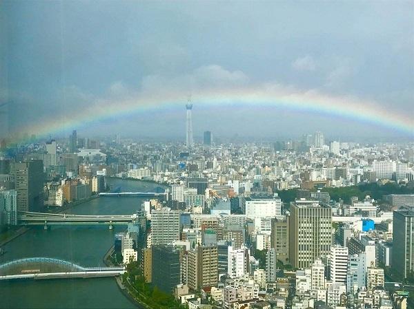 「朝から土砂降りの雨がふっておったが、即位礼正殿の儀のタイミングで雨が止み、晴れてきて空には虹がかかり、富士山も初冠雪の状態で顔を出した」なんて言ったら「このほら吹きジジィ!」とかいわれるけど事実だも