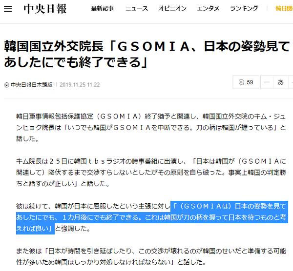 20191125韓国国立外交院長「GSOMIA、日本の姿勢見てあしたにでも終了できる」・韓国人は手首切るブス
