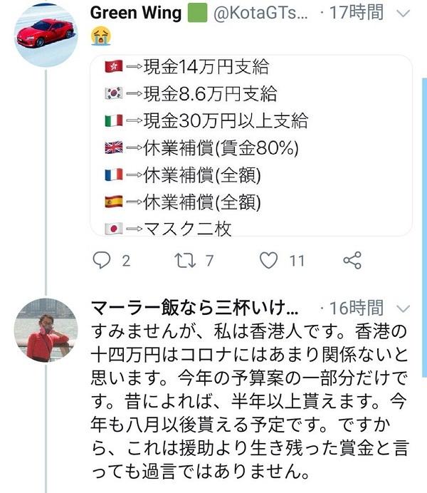20200404馬鹿パヨ宍戸開が嘘を発信「イタリアは30万円現金支給…日本はマスク2枚」嘘の指摘や批判が殺到