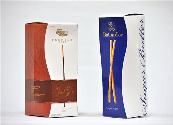 2014年12月にグリコから提訴されたロッテ「プレミア ペペロ」(左)、江崎グリコポッキー高級版「バトンドール」(右)