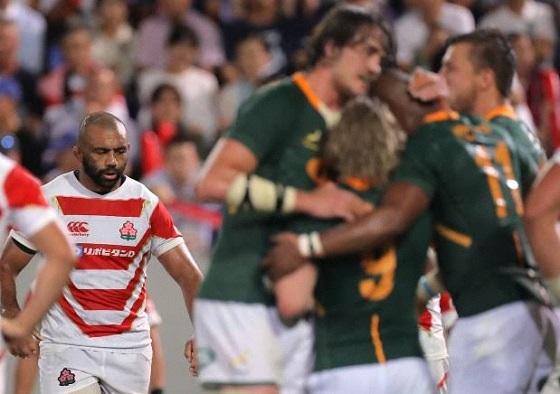 日本と南アのテストマッチ(ラグビーの「テストマッチ」は練習試合ではなくW杯に次ぐ本番の真剣勝負)では、7対41で日本が完敗
