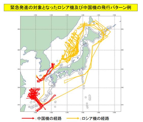防衛省はスクランブル発進のデータを公表した。画像は、中国機とロシア機の飛行経路(防衛省)