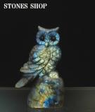 ラブラドライト フクロウ彫物128.3g-2