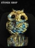 ラブラドライト フクロウ彫物101.2g-3