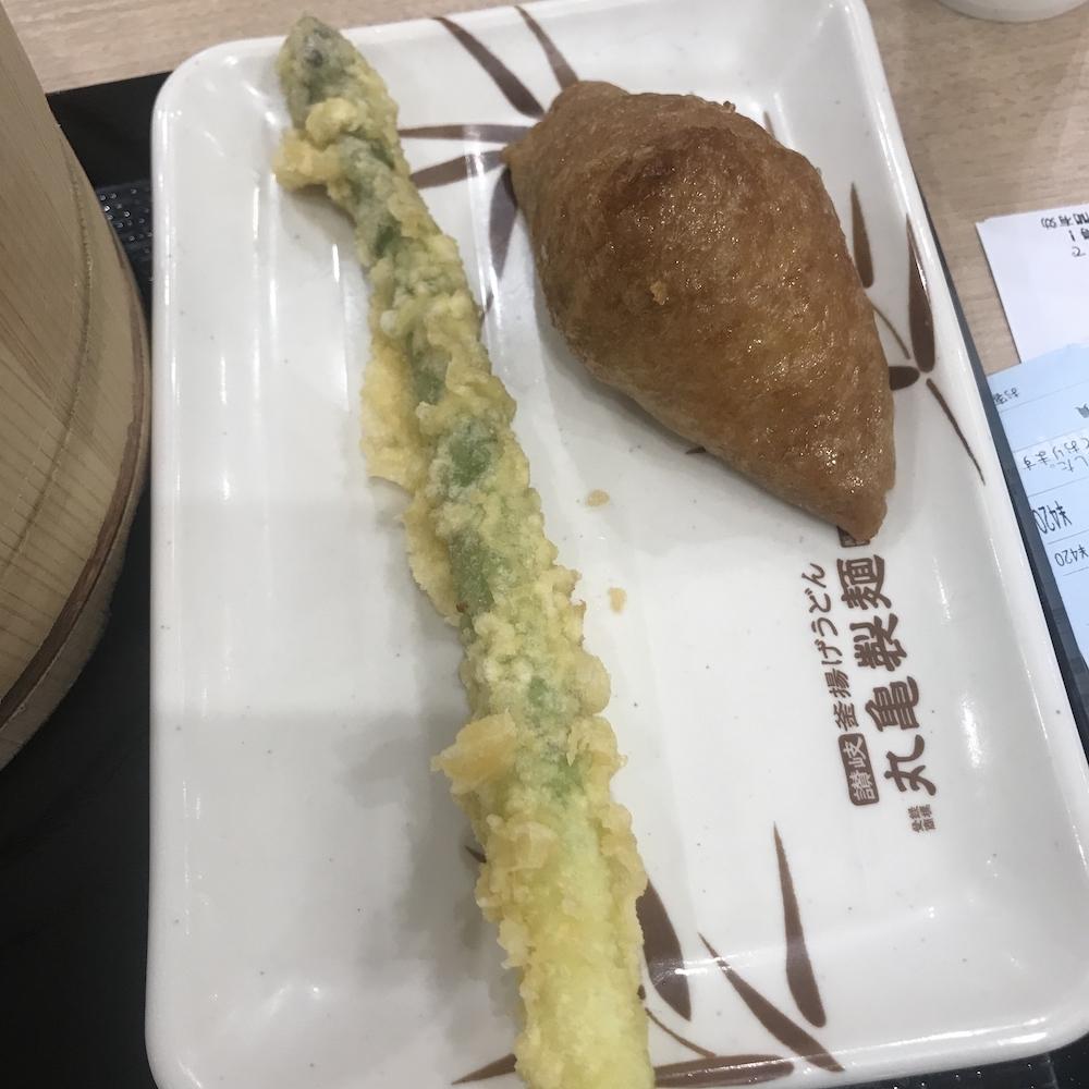 アスパラの天ぷら&いなり