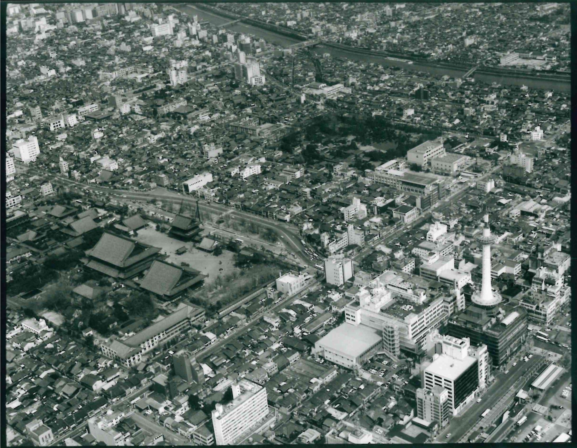 京都駅前東本願寺空撮写真1978年頃