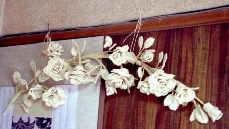 籐作品 バラの壁飾り
