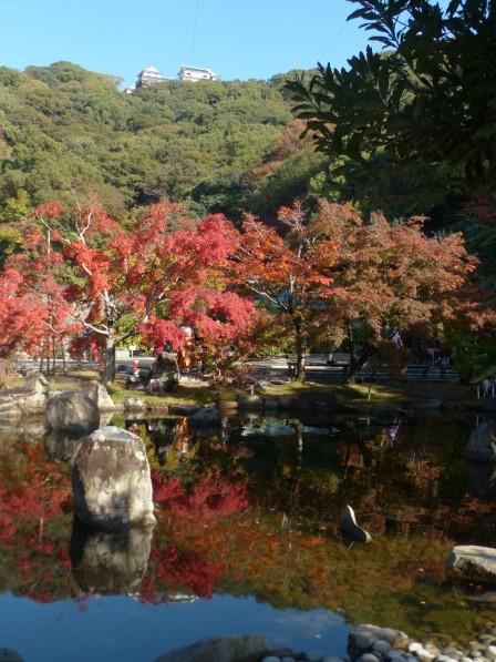 松山城二之丸史跡庭園 池と紅葉 4