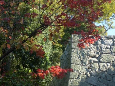松山城二之丸史跡庭園 石垣と紅葉
