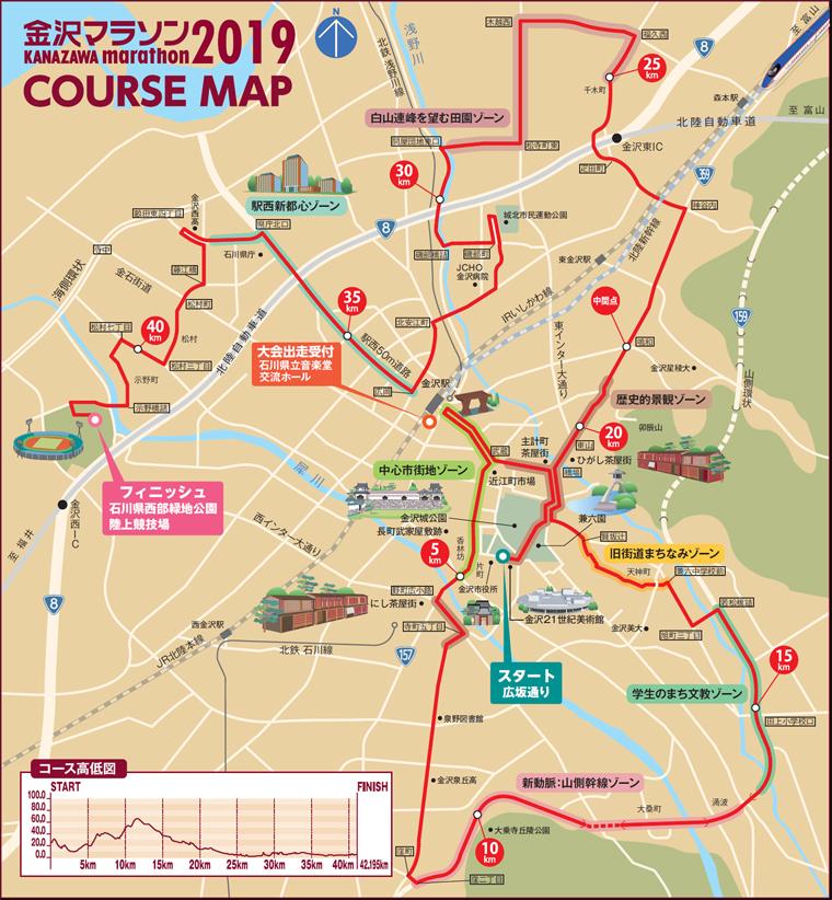 金沢マラソンマップ