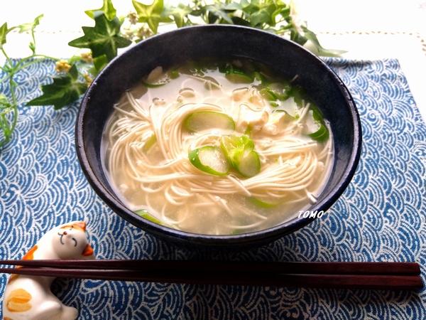 ネギと崩し豆腐のにゅう麺