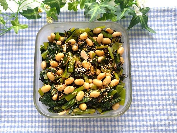 小松菜と水煮大豆のポン酢和え