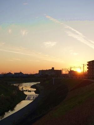 宇治川堤防夕焼け2001