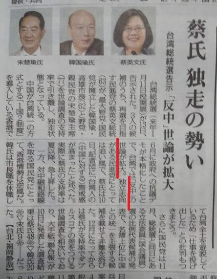 毎日20191214台湾報道正常化運動