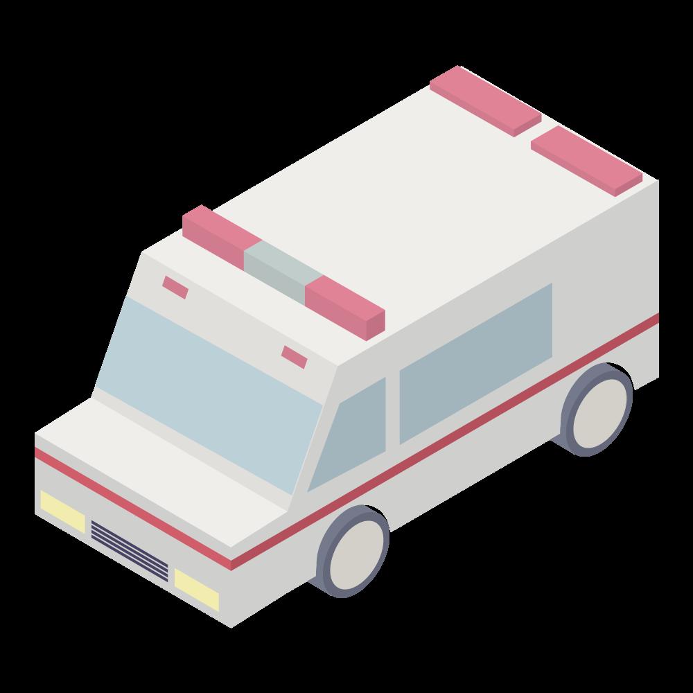 かわいいおしゃれなアイソメトリックの救急車アイコン
