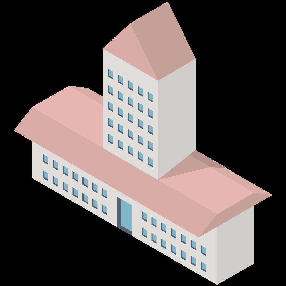 かわいいおしゃれなアイソメトリックのピンクの屋根のマンションイラスト