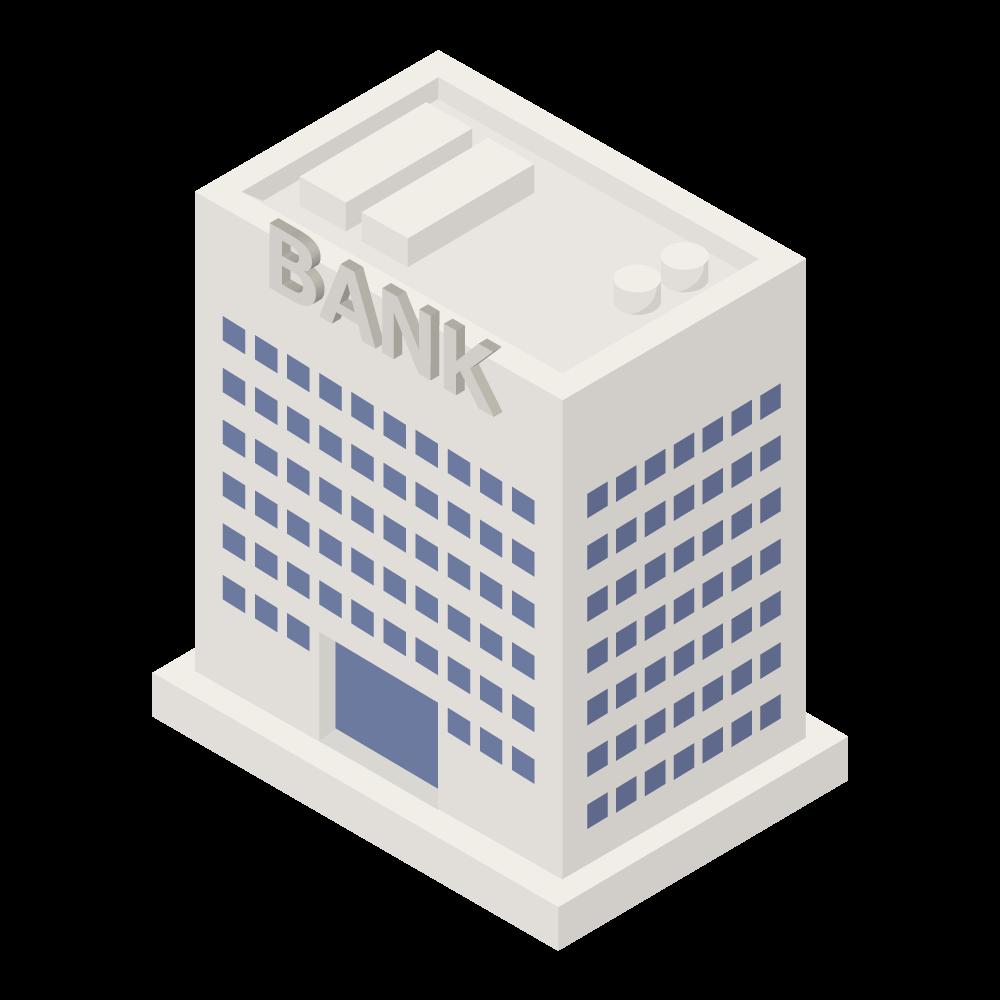 かわいいおしゃれなアイソメトリックの銀行ビルアイコン