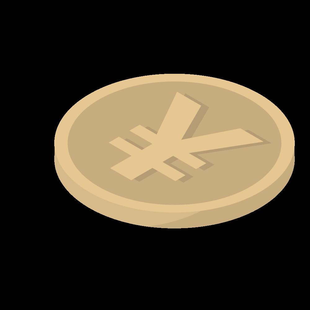 かわいいおしゃれなアイソメトリックの円\マークのコインアイコン