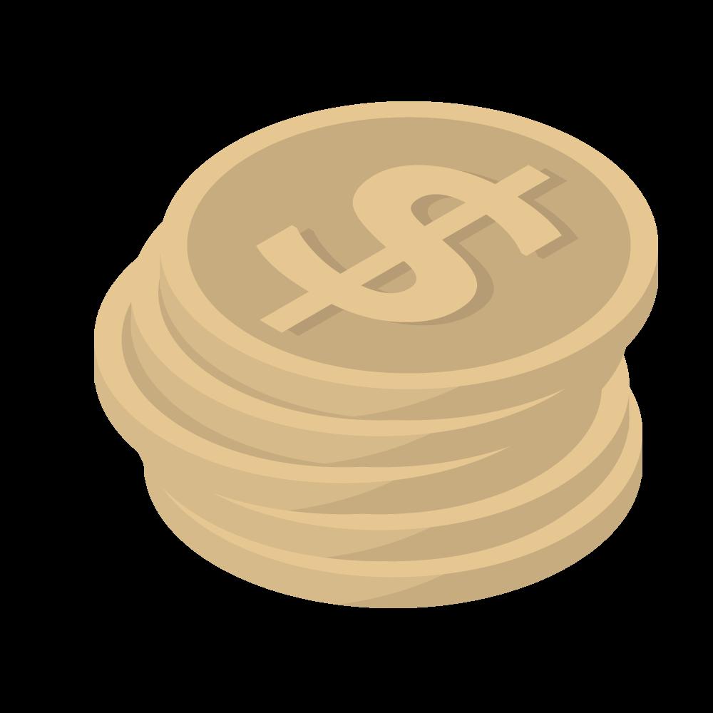 かわいいおしゃれなアイソメトリックのドル$マークのコインアイコン