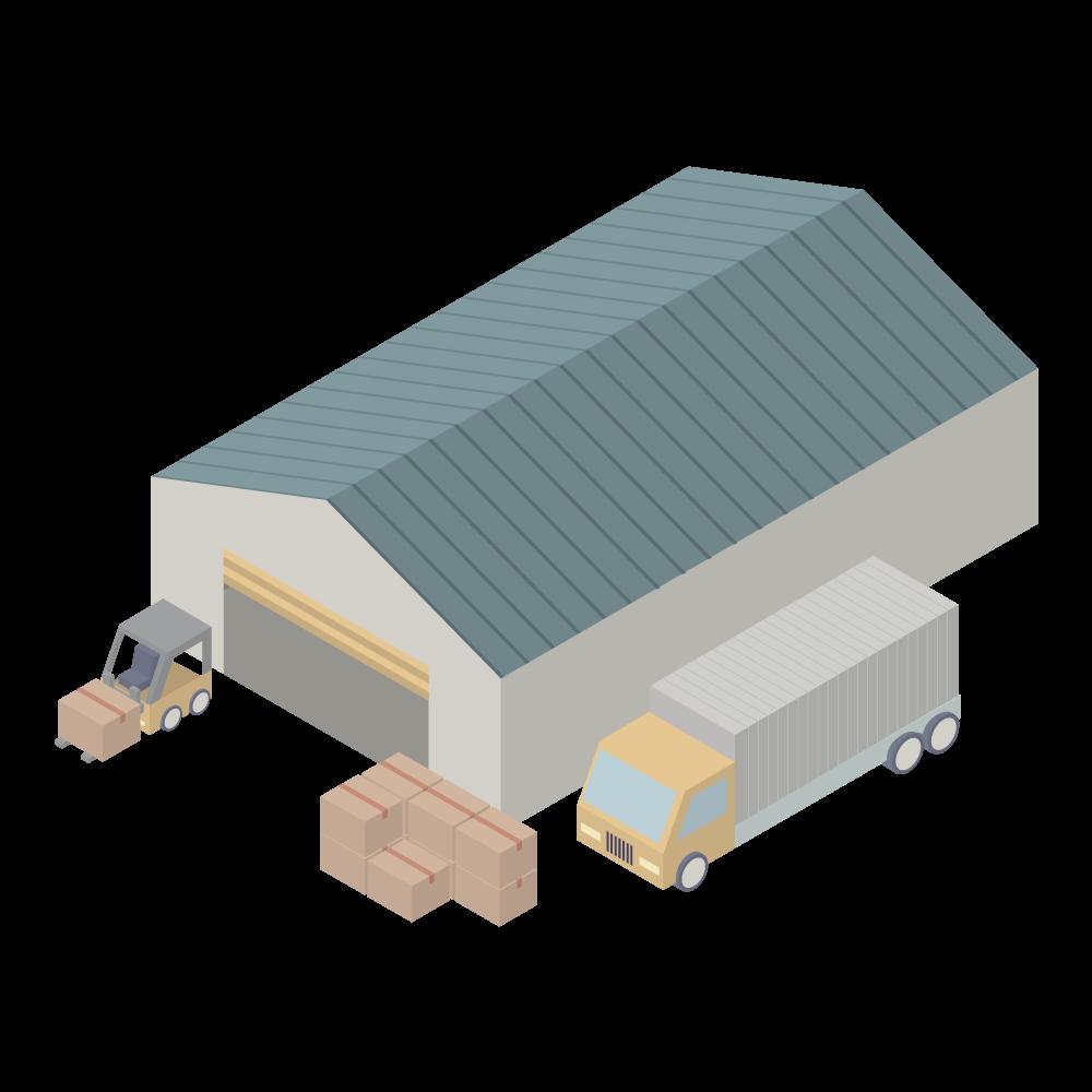かわいいおしゃれなトラックとフォークリフトのあるアイソメトリックの物流倉庫アイコン