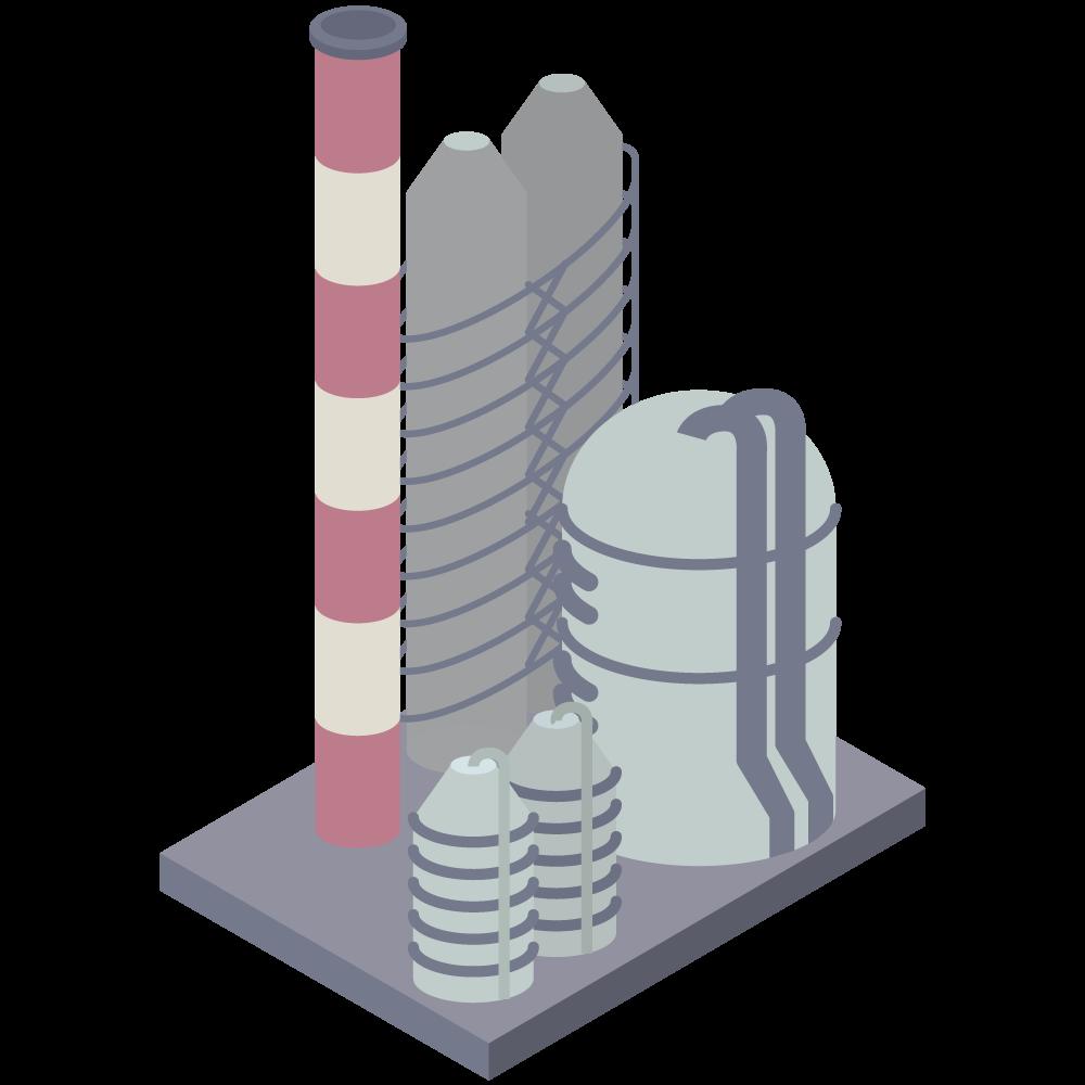 アイソメトリックの工場のイラスト