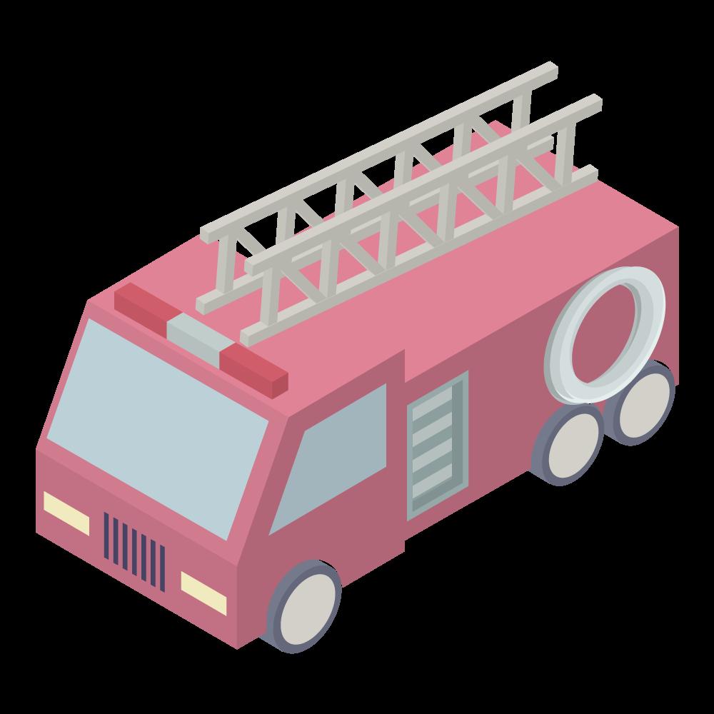 かわいいおしゃれなアイソメトリックの消防車アイコン